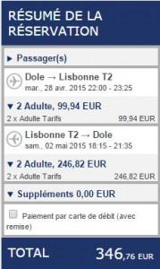 en avion pour Lisbonne
