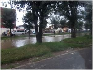 L'eau du lac d'épuration débordant sur la chaussée
