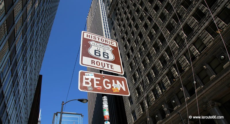 Panneau Route 66 Begin à Chicago